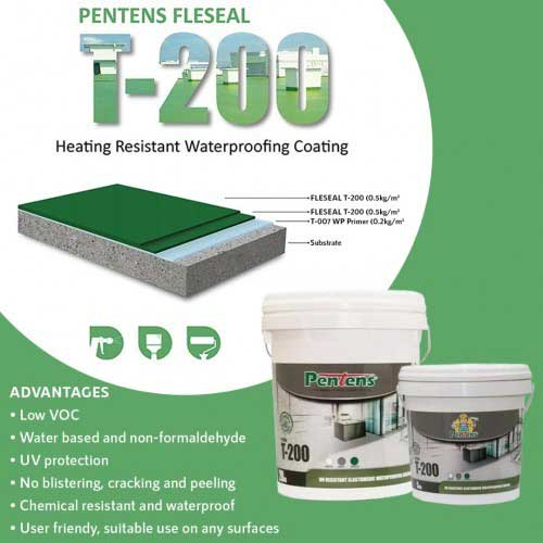 Pentens® FLESEAL T-200H UV Resistant Elastomeric PU Waterproofing Coating